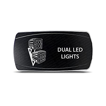 CH4x4 Rocker Switch Dual Led Ligths Symbol - Horizontal-White LED CH4x4 Industries