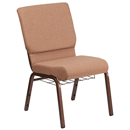 "18.5""W Church Chair in Caramel Fabric with Cup Book Rack – Copper Vein Frame"