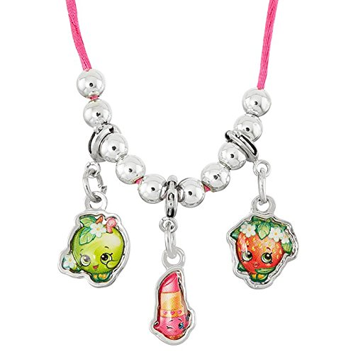 Strawberry Charm Necklace - Shopkins Necklace with 3-Charms (Clip-On) (Apple Blossom / Lippy Lips / Strawberry Kiss)