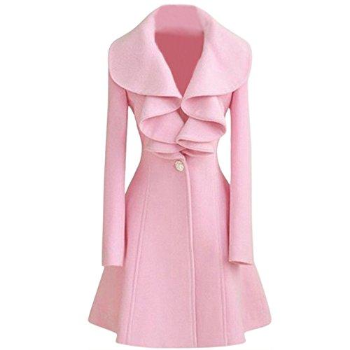R TOOGOO Moda Donna Slim calda lana lungo del rivestimento del cappotto trincea Windbreaker del parka Outwear Rosa Taglia L