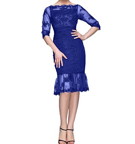 Brautmutterkleider Damen Royal Charmant Etuikleider Spitze Blau Abendkleider Knielang Langarm mit Partykleider Ballkleider HwaCqw