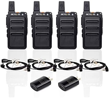 Retevis RT19 Walkie Talkies Rechargeable FRS UHF VOX 2 Way Radios Long Range for Adults with Earpiece 4 Pack