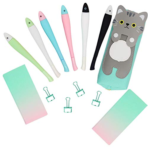 - Cat Pens and Pencils Case Office Stationary Set,Cute Fish Gel Ink Pens 0.38mm Signing Pen School Stationery