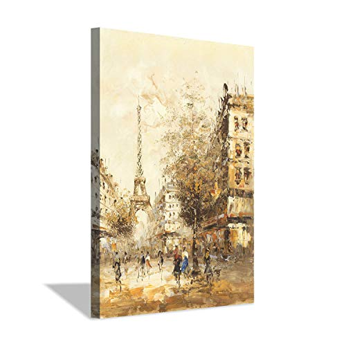 Eiffel Tower Canvas Wall Art: Abstract Paris Cityscape Artwork Painting on Canvas for Home Office (36''X24'') (Paris Cityscape)