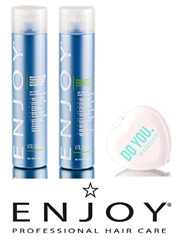 Enjoy Sulfate-Free Therapeutic Volumizing Shampoo & Conditioner DUO Set (with Sleek Compact Mirror) (10.1 oz / 300ml Kit)
