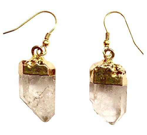 Genuine Rough Cut Clear Quartz Stone Drop Earrings (Gold dipped top drop earrings) by Beadscape ~ A Bit of Deja Vu (Image #2)
