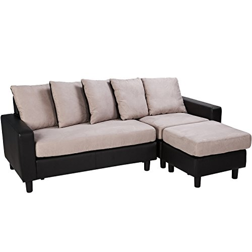 Merax Contemporary Sectional Sofa Chaise Upholstered Corner Sofa With 5  Pillows (Black)