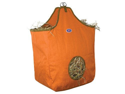 Derby Originals Nylon Hay Bags Large with D Ring, Orange/Khaki