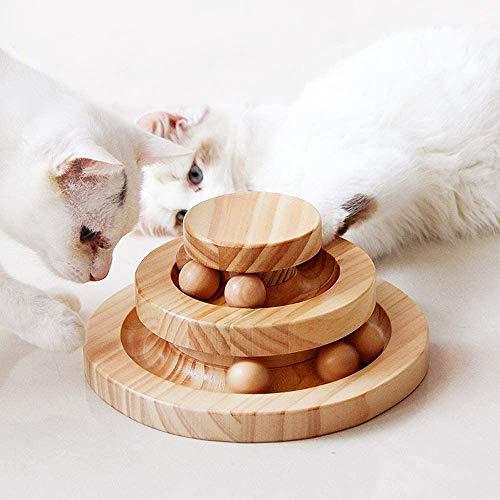 Tarnel Interaktives Katzenspielzeug aus Holz zweilagig drehbar Smart Track Ball Schaukelrolle für Katzen