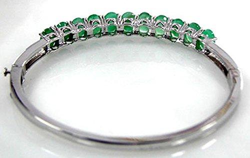 11.00Outlet-Émeraude véritable & ovale en argent sterling Bracelet jonc en argent sterling 925massif pour femmes et filles