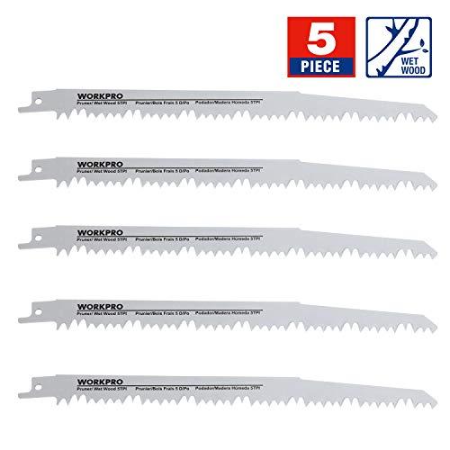 WORKPRO 5-Piece 9-Inch Wood Pruning Reciprocating Saw Blade Set, 5TPI, CR-V Steel Saw Blade Kit for Bosch, Black & Decker, Makita, Dewalt