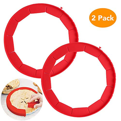 Lashary Adjustable Pie Crust Shield, 100% Food Grade Silicone Pie Weights for Baking, BPA Free & FDA Approved Pie Ring, Durable & Reusable Pie Edge Protector, 2 Pack of Pie Protector Shield (Red)