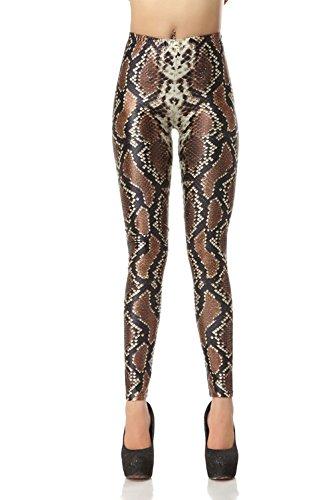 (Pinkyee Women's Digital Printed Python Snake Skin Legging One Size)