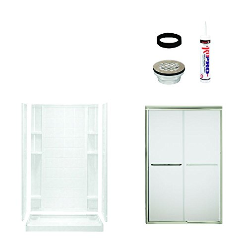 Sterling Shower Module - Sterling Plumbing 7212-5475NF Ensemble Shower Package Tiled Wall 48-Inch x 34-Inch x 75-3/4-Inch with Frosted Door Drain Kit, White/Satin Nickel