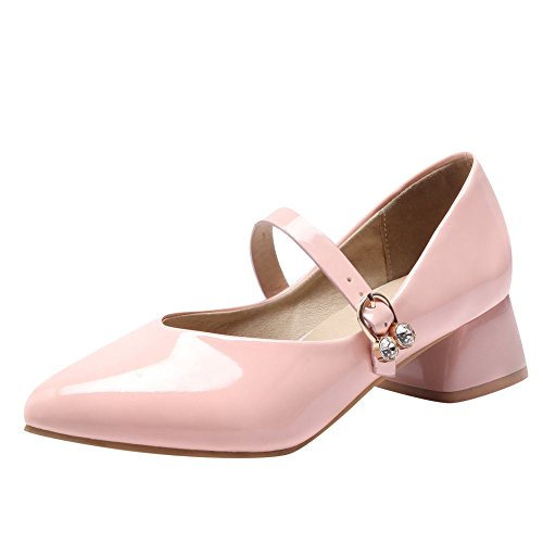 Carolbar Womens Sweet Lolita Pointed Toe Bruids Gesp Mary Janes Shoes Pink