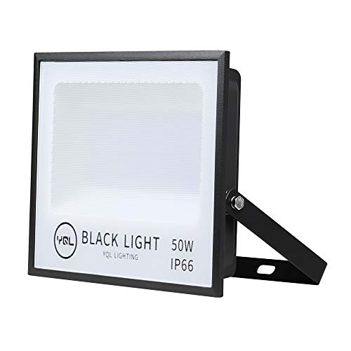 YQL Outdoor UV Black Light,50W Ultra Violet LED Flood Light,Blacklights for DJ Disco Night Clubs,UV Light Glow Bar,Blacklight Dance Party,Stage Lighting,Glow in The Dark Party Supplies,Curing