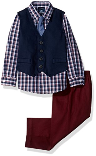 (Nautica Boys' 4-Piece Formal Dresswear Vest Set, Dark Blue Woven Plaid, 3-6 Months)
