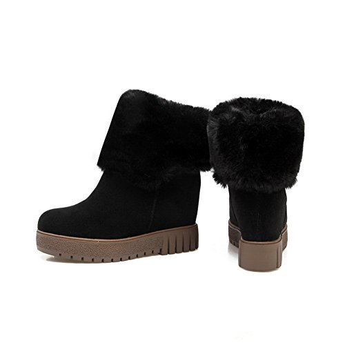 Leather Round Boots Womens Toe Platform AdeeSu Fur Collar SXC02623 Black 1wYFSq1I