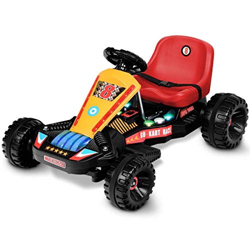 (Costzon Electric Go Cart, 6V Battery Powered 4 Wheel Racer for Kids, Kids' Pedal Cars for Outdoor, Ride On Toy Car with LED Flash Light, Music, Forward/Backward, 3-Position Adjustable Seat (Red))