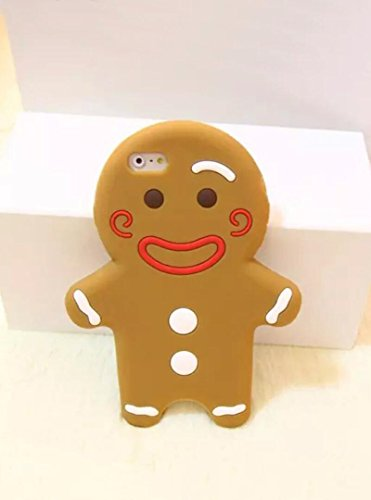 Losin 3D Silicone Case Compatible with Apple iPhone XR Fashion Christmas Cute Cartoon Biscuit 3D Gingerbread Man Cookie Soft Silicone Back Case(Brown)
