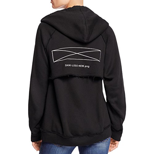 DKNY Womens Cut Out Graphic Hooded Sweatshirt Black S by DKNY (Image #1)