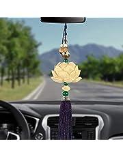 Hhuycvff vwuig Auto Hanger Houtsnijwerk Lotus Auto Achteruitkijkspiegel Decoratie Sculptuur Lotusbloem Opknoping Dangle Ornament Auto Accessoires