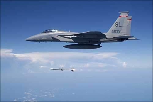 24x36 Poster . F-15 Eagle Fires Aim-120 Air-To-Air Missile -