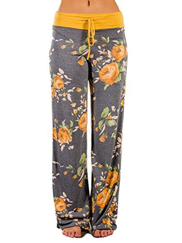 WD-Amour Women's Comfy Stretch Floral Print Drawstring Palazzo Wide Leg Lounge Pants (Large, Yellow)