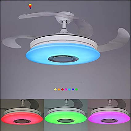 Moderno Ventilador de techo con luz con Mando a distancia con altavoz Bluetooth, HOREVO 36W Lámpara de techo teléfono aplicación, LED RGB Cambio de Color, ideal Para ...