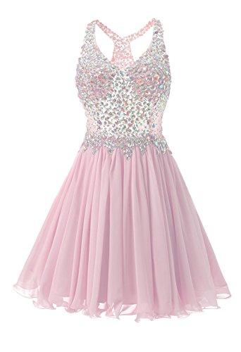 kleider Linie Rückenfrei Beadings CoCogirls Abendkleid Kleid Partei Heimkehr Chiffon A Kleid Cocktail Kurz Pink Ballkleid OFXwn1x5qX
