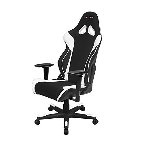DXRacer Racing Series OH/RW106/NW Racing Style Bucket Seat Ergonomic Executive Office Gaming Chair Computer Esports Desk Chair with Lumbar Support Pillows (Black/White)