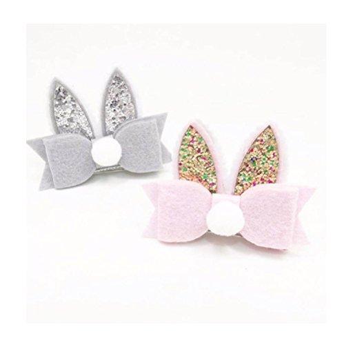 Kehen Boutique Hair Clip Pompom Sequined Rabbit Ear Hair Clip Bow Hairpin Hairgrip Headdress for Kid Toddler Baby Girl