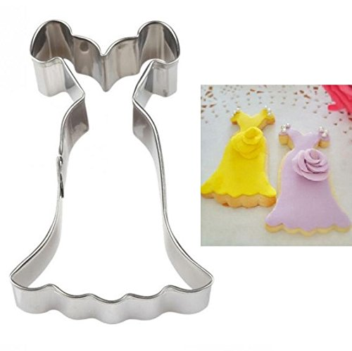 EatingBiting(R)Elegant Princess Dress Prom Shape Stainless Steel Cookie Cutter Fondant Cutter Metal Cookie Molds , Biscuits Chocolates DIY Mold Gift .]()