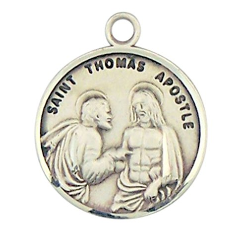 Sterling Silver Patron Saint Thomas the Apostle Round Medal Pendant, 7/8 Inch