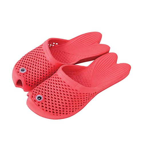 Time Concept Boys/Girls Goldfish Soft EVA Slippers - Red - Unisex Kids Footwear, Indoor/Outdoor Summer Sandals -