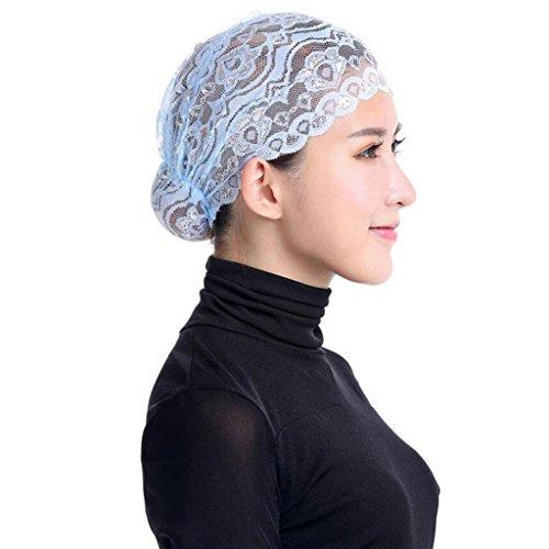 Qingfan Women Muslim Hijab Ruffle Cancer Chemo Elegant Lace Hat Beanie Scarf Turban Head Wrap Cap (Light blue)