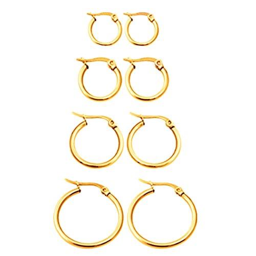 Delicate Hoop (Calors Vitton 4 Pairs Stainless Steel Huggie Hoop Earrings for Women 10-25mm Gold)
