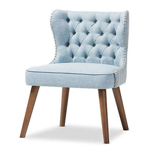Baxton Studio Sydney Walnut Wood Button-Tufting with Nailheads Trim 1-Seater Accent Chair, Regular, Light Blue