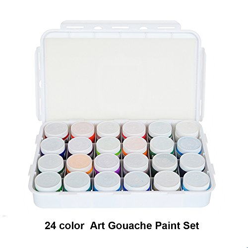 Gouache Paint Set - 24 Vivid Colors, 100 ML Tubes - Ideal For Beginners, Students Or Artist - Excellent Coverage On Paper, Canvas, Wood, Fabric And More by Kachikawa