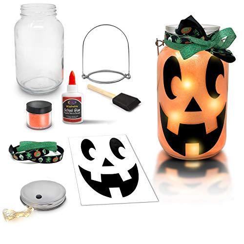 Mason Jar Lantern Craft Kit - DIY Make Your Own Halloween Lantern Jar - Fun Halloween Craft Project for Kids - Great Gift (Halloween(Jack'O Lantern))