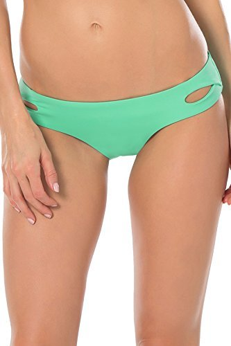 Becca by Rebecca Virtue Women's Tab Side Hipster Bikini Bottom Seaglass S