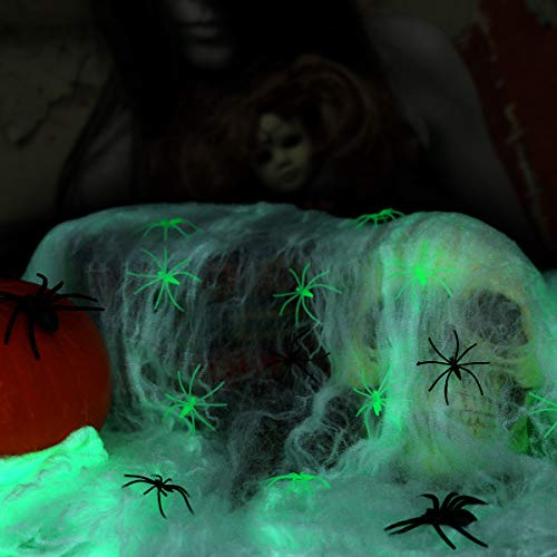 Halloween Spider Web Stretchy Glowing for Halloween Outdoor Indoor Decorations with 65 Fake Spiders of 3 Sizes