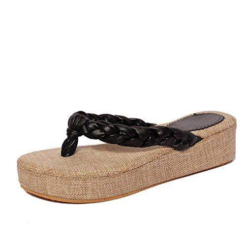 DM&Y 2017 sandalias de paja con pendiente de concha con las zapatillas de viajes a¨¦reos nacionales deslizan arrastre hierba de la playa de moda Black