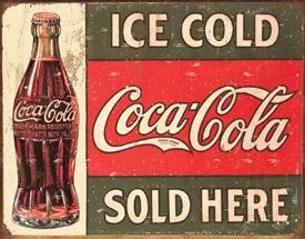 Tin Sign - Coke - C. 1916 Ice Cold, -