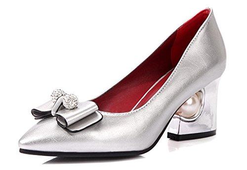 Aisun Damen Strass Schleifen Kunstliche Perlen Kunstleder Pointed Toe Low-Cut Blockabsatz Pumps Rot 36 EU YgmQU