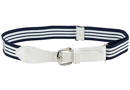 Kids Elastic Adjustable Belt with Leather Closure - Navy Striped With White Leather