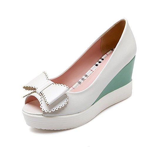 AllhqFashion Women's Soft Material Pull On Peep Toe High Heels Solid Sandals White tsu8y