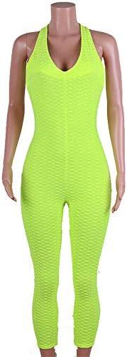 レディースジャージ上下セット 女性のヨガフィットネスジャンプスーツグリーンハニカムヨガパンツ (サイズ : S)