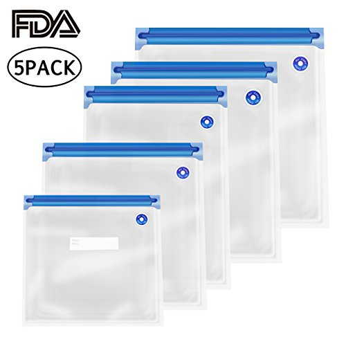 Banne 5PCS Sous Vide Bags Resusable BPA Free Food Vacuum Sealed Bags in 5 Sizes for Food Storage and Sous Vide Cooking