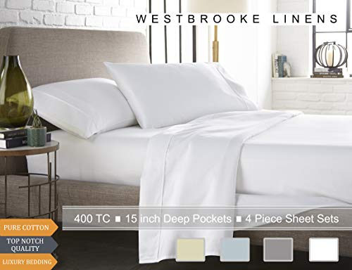 (Westbrooke Linens 400 Thread Count 100% Long-Staple Cotton Pleated Hem Sheet Set, Solid Sateen Weave, Wrinkle Free, Elastic Deep Pocket, Hotel Collection, Luxury Bedding Sheet Set (Full, White))